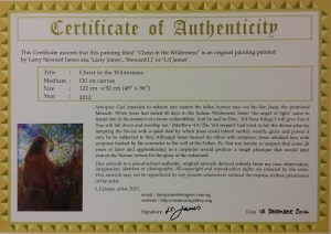 Certificate of Authenticity of select paintings